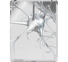 White and silver metallic 3d Neuron Synapse on White iPad Case/Skin