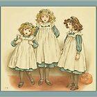 Greetings-Kate Greenaway-Three Girls in Polly Flinders by Yesteryears