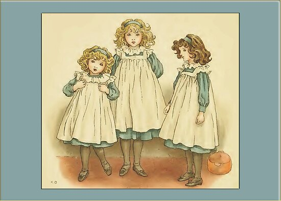 Greetings-Kate Greenaway-Three Girls in Polly Flinders by Yesteryears