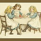 Greetings-Kate Greenaway-Three Girls at Table by Yesteryears