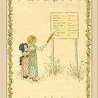 Greetings-Kate Greenaway-Two Girls Reading Sign by Yesteryears