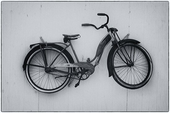 Old bike - Black and White by Josef Pittner