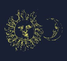 Yellow Sun and Moon Shirt by Archpress