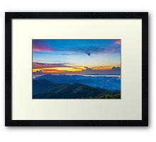 Majestic mountain landscape at sunset in Hong Kong Framed Print