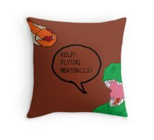 Prehistoric Flying Meatballs Throw Pillow