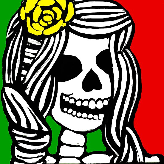 Rasta skeleton girl. by Trent Shy