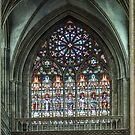 Stained glass at Bayeux Cathedral 198402180057 by Fred Mitchell