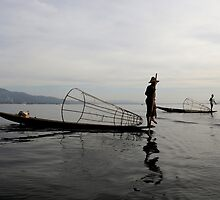 Fisherman on lake Inle, Burma/ Myanmar by Peter Voerman