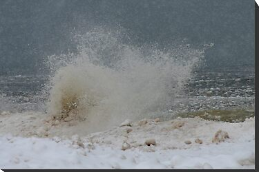 Winter Splash on Lake Michigan by BarbL