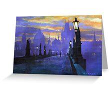 Prague Charles Bridge Sunrise Greeting Card