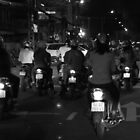 Saigon streets at night by MomoYeuSunny