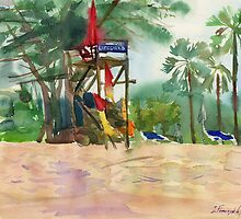 lifeguards at the beach by Irina Fominykh