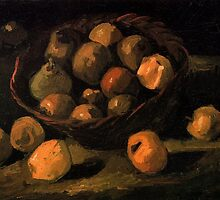 Basket of Apples, Vincent van Gogh.  Still life oil painting.  Vintage impressionism fine art. by naturematters