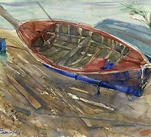 Old shabby boat on sand by Irina Fominykh