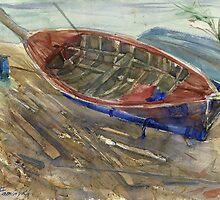 Old shabby boat on sand by Irina Fominykh