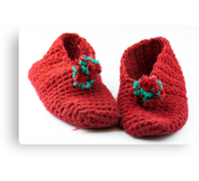 Red knitted slippers Canvas Print