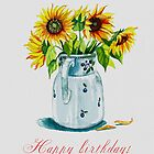 Sunflower Birhtday Card by Tania Vasylenko