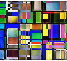 Stained Glass Window II Multi-Coloured Abstract by Natalie Kinnear
