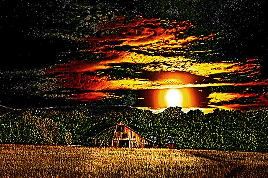 Harvest Moon and Late Barn by Randy & Kay Branham