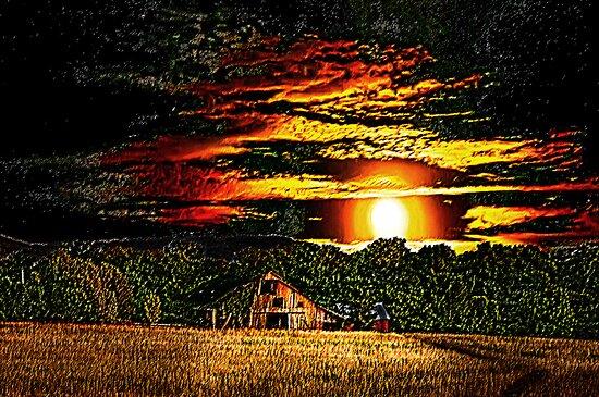 Harvest Moon and Late Barn by Randy & Kay Branham