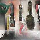 Workshop tools still life, pastel painting by aceshirt