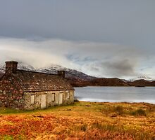 Winter scene at Loch Stack, Scotland by Gabor Pozsgai