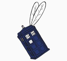 Flying Phone Box - Sticker by ClockworkRobot