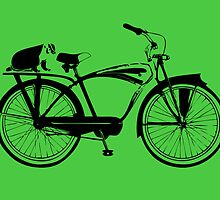 Badger On A Bicycle Green Card & Prints  by M  Bianchi