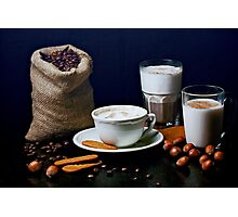 Latte, Capuccino, and Biscuits Photographic Print