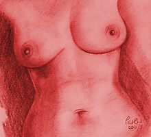 Nude Female Torso - PPSFN-0002-in Red by Pat - Pat Bullen-Whatling Gallery