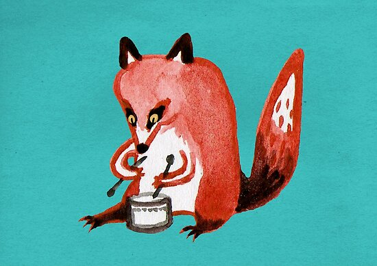 Drumming Fox by Sophie Corrigan