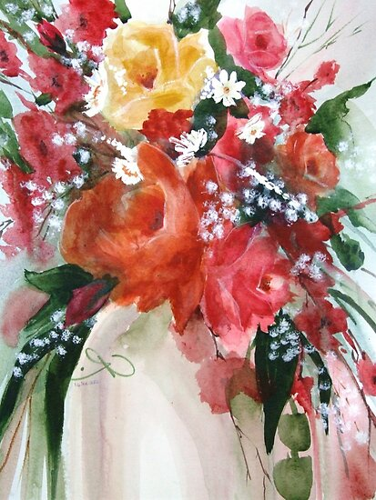 Vase of Flowers with Baby's Breath by FaceAboutArt