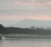 dawn on llangorse lake brecon beacons by blakmountphoto