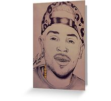 """Chris Brown """"Gold In My Mouth"""" By TayeTheArtist Greeting Card"""