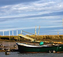 Green Boat Moored Beneath a Beautiful Norfolk Sky by Marian Sedwell