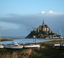 Mont St Michel from beside the roadway 198402200004 by Fred Mitchell