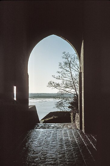 Looking across inlet from pause on climb Mont st Michel 198402200014 by Fred Mitchell