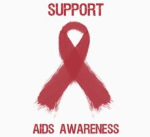 Support Aids Awareness Red Ribbon by Sarah  Eldred