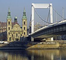 White Metal Bridge in Budapest, Hungary by Joshua McDonough