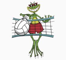 Funny Volleyball Frog by SportsT-Shirts
