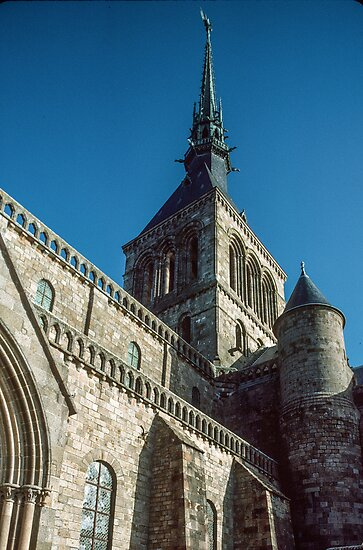 Spire on church from area around church Mont St Michel 198402200019 by Fred Mitchell