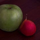 Apple and Pear on a Wooden Tray by Jay Gross