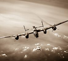 Lone Lancaster sepia version by Gary Eason + Flight Artworks