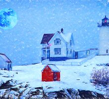Cape Neddick Light snow pastel by Adam Asar