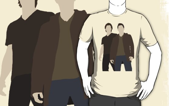 Dean & Sam Winchester Supernatural Minimalist t-shirt/sticker design by Hrern1313