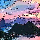 Rio de Janeiro at dusk drawing by Adam Asar