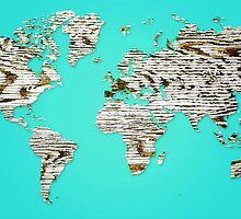 Turquoise Map of The World - World Map for your walls by DejaVuStudio