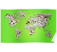 Green Map of The World - World Map for your walls Poster
