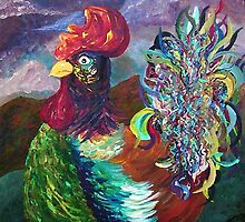 Rooster on the Horizon by EloiseArt