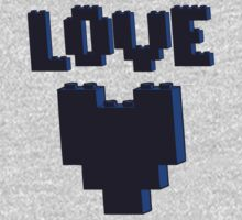 """LOVE"" in brick font with Brick Heart by Customize My Minifig by ChilleeW"